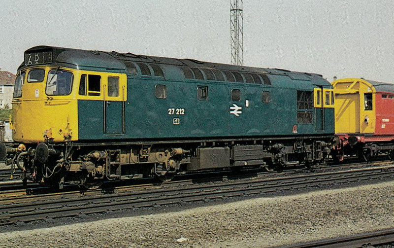 27212 - BRCW Class 27 Type 2 Bo-Bo DE - built 05/62 by BRCW as D5386 - 1973 to 27103, 12/81 to 27212,11/82 to 27066 - withdrawn 07/87 - seen here at Eastfield TMD, 06/75.