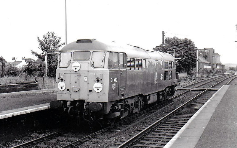 31109 - Brush Class 31 Type 2 A1A-A1A DE - built 04/59 by Brush Traction as D5527 - 1973 to 31109 - withdrawn 03/88 - seen here at Barnetby, 07/77.