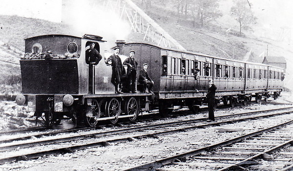 STOCKPORT CORPORATION - No.2 - 0-6-0ST - built 1904 by Hudswell Clarke & Co., Works No.706 - seen here on a worker's train, coaching stock ex-Mersey Railway, during the building of Kinder Reservoir, 1903 to 1912.
