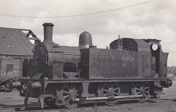 LAMBTON, HETTON & JOICEY COLLIERIES - 27 - Newcastle & Darlington Junction Railway 2-4-0 - built 1845 by R Stephenson & Co., Works No.491, as N&DJR No.30 - 1846 to NER as No.30, later No.30A - 1864 rebuilt by Gateshead Works as 0-6-0, 1873 rebuilt as 0-6-0ST - 1898 sold to Lambton, Hetton & Joicey Colliery as No.27 - rebuilt as 0-6-0T - seen here as NCB Area 2 No.27 at Philadelphia, January 1947.