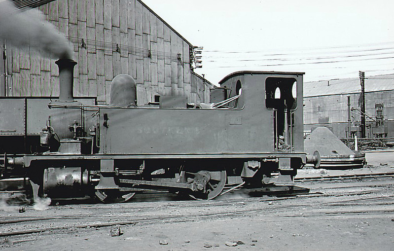 STEWARTS & LLOYDS LTD., Bilston - 99 - Adams LSWR Class B4 0-4-0T - built 12/1893 by Nine Elms Works as LSWR No.99 - BR No.30099 not applied - 02/49 sold to DR Zeiler, Swansea, and then to Stewart & Lloyds, Bilston - 08/58 scrapped - seen here 05/49 still in Southern Railway livery.