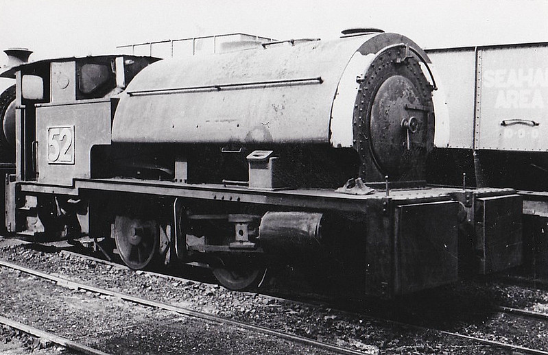 SEAHAM HARBOUR CO., Seaham - No.52 - 0-4-0ST - built 1946 by Robert Stephenson & Hawthorn Ltd. Works No.7340, for Dorman Long & Co., Acklam Works, Middlesbrough as No.52 - 05/63 sold to Seaham Harbour Co. - 11/66 scrapped.