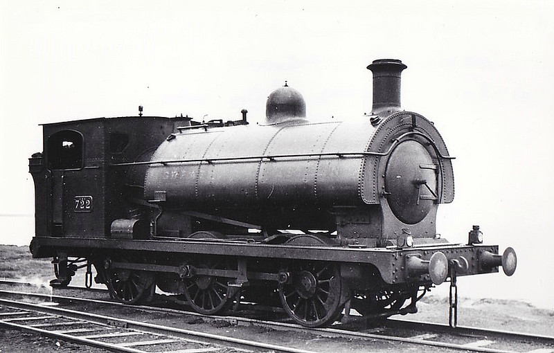 NATIONAL COAL BOARD, Cambois Colliery - 722 - 0-6-0ST - ex-GWR No.722, Barry Railway No.102 - built 1900 by Sharp Stewart & Co., Works No.4598 - 11/35 withdrawn by GWR, sold to Cowpen Coal Co - 1958 scrapped - seen here 07/49.