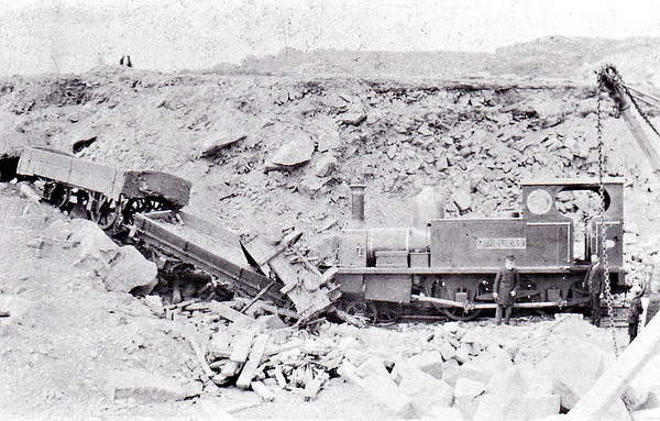 JERSEY RAILWAY - No.1 ST. HELIERS - 2-4-0T - built 1884 by Manning Wardle & Co., Works No.916 - scrapped in Jersey when the railway closed in 1936 - seen here at Corbiere Quarry on May 13th,1895, looking a little the worse for wear.