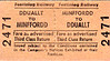 FFESTINIOG RAILWAY TICKET - MINFFORDD - Third Class Return to Ddault. I think that this is a modern ticket.