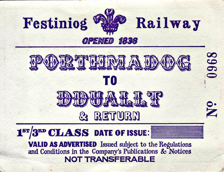 FFESTINIOG RAILWAY TICKET - PORTHMADOG - (1) First/Third Class Return to Ddault - although undated, this ticket must date to before 1978 as the Llyn Ystradau Deviation is shown on the map as under construction. This was the completed in that year and Blaenau was reached in 1982.