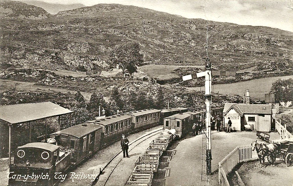 FFESTINIOG RAILWAY - TAN-Y-BWLCH STATION - seen here in about 1910. I think the loco may be the original TALIESIN, an 0-4-4T built in 1876 by Vulcan Foundry and scrapped in 1935 with accident damage.