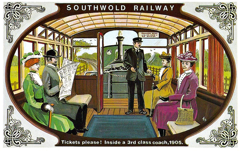 SOUTHWOLD RAILWAY No.3 - The interior of the tramcar-style 3rd Class coaches was somewhat basic with wooden bench seats. Not until 1904 was a carpet added. There was no heating so in winter straw was brought in to keep the passenger's feet warm! The 1st Class compartments had blue upholstery however. In the 1920's, some effort was made to rebuild the stock with closed-in verandas and side doors to keep out draughts.