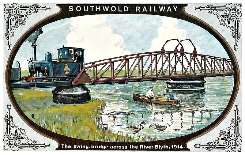 SOUTHWOLD RAILWAY No.4 - The swing bridge over the River Blyth was built in 1907 to take the projected standard gauge track, but unfortunately the conversion never took place. Worse, the bridge was only swung open on a few occasions. Locomotive No.3 BLYTH shows of her new blue livery which matched the Great Eastern Railway's colour scheme. This was probably done at Stratford Works where the locomotives were sometimes reboilered.