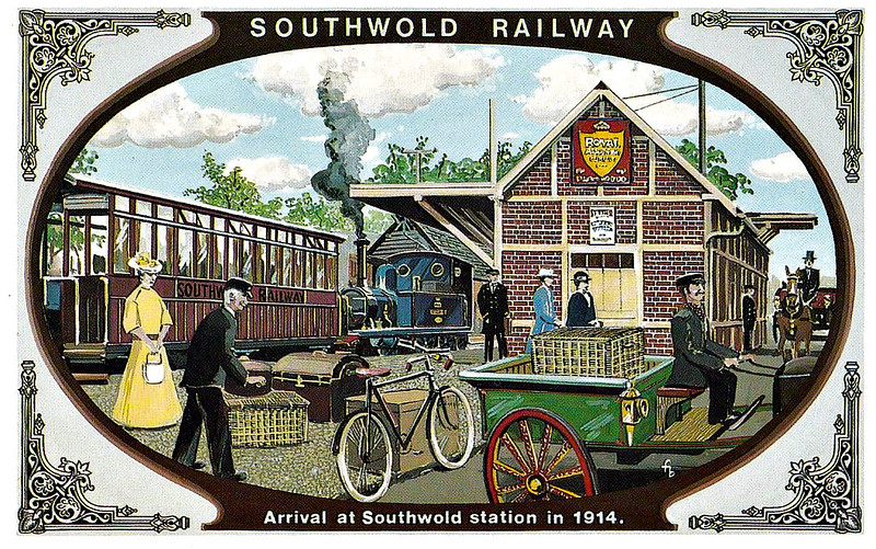 SOUTHWOLD RAILWAY No.5 - Southwold was always a favourite resort. In fact, the Company relied more on their passengers than on freight traffic, and when the more comfortable buses arrived in the 1920's, the railway suffered as a result. The picture shows the scene just before the outbreak of war - the coaches were now maroon and Locomotive No.2 HALESWORTH is in GER blue with red lining.