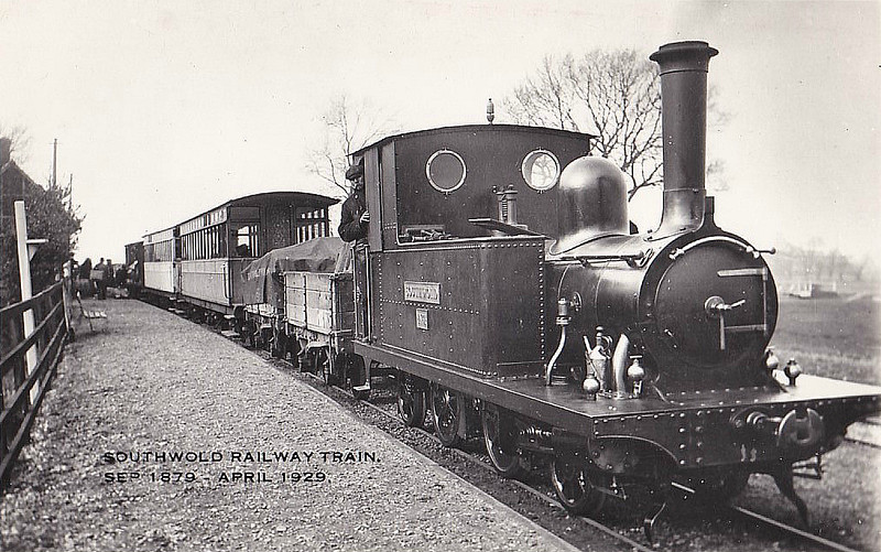 SOUTHWOLD RAILWAY - No.1 SOUTHWOLD - 2-4-2T - 914mm - built 1893 by Sharp Stewart - 1929 scrapped - seen here on a typical mixed train.