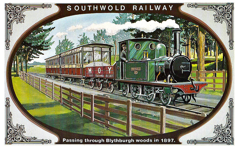 SOUTHWOLD RAILWAY No.2 - The coaches were repainted around 1900 with red lower panels but the three locomotives, built by Sharp Stewart & Co. remained green until the early 1900's. The picture shows Locomotive No.1 SOUTHWOLD and also one of the new 6-wheeled wagons owned by Thomas Moy Ltd., coal merchants. The Blythburgh Woods were nicknamed 'The Heronry' on account of the herons that nested there.