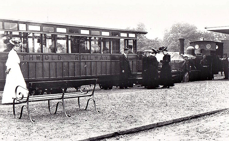 SOUTHWOLD RAILWAY - SOUTHWOLD STATION - A mixed train readies for departure. Most of the passengers seem to 'ladies' - the only scruffy people in view seem to be the engine crew! Taken in about 1910.