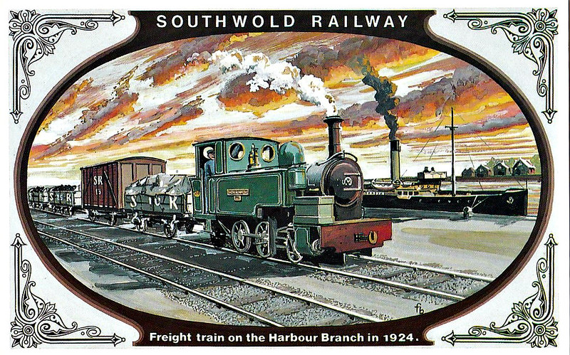 SOUTHWOLD RAILWAY No.6 - The mile-long Harbour Branch line did not materialise until 1914 and a fourth locomotive WENHASTON, built by Manning Wardle & Co. was introduced to cope with the heavier traffic. A popular engine with the men, it remained in green livery until the end of the railway in 1929. The Company's wagons were grey except for the baggage vans which matched the colour of the coaches.