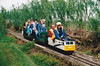 DUNHAMS WOOD LIGHT RAILWAY - The Class 47 is headed back towards the terminus as it negotiates the woodland loop, 06/05/02.<br /> Dunhams Wood Light Railway is located on Binnimoor Road, just outside March, in a small wood. The track is a 'balloon on a string' layout, 900 yards long, 180mm gauge, and has been open to the public on a few days a year since 1991. The entire railway is run by volunteers and most funds raised on open days go to local charities. A visit is recommended.