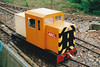 DUNHAMS WOOD LIGHT RAILWAY - I presume that ABEL is a battery-electric loco, 06/05/02. I'm not sure where the driver sits!<br /> Dunhams Wood Light Railway is located on Binnimoor Road, just outside March, in a small wood. The track is a 'balloon on a string' layout, 900 yards long, 180mm gauge, and has been open to the public on a few days a year since 1991. The entire railway is run by volunteers and most funds raised on open days go to local charities. A visit is recommended.