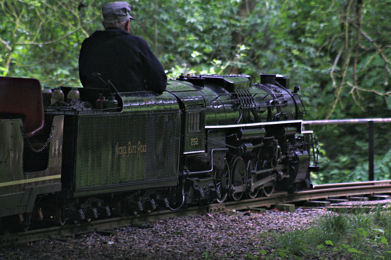 STAPLEFORD MINIATURE RALWAY - 752 - Nickel Plate Road 2-8-4 'Berkshire' - built at Stapleford in 1970 - seen here in the depths of the woods behind the lake, 11/06/16.<br /> The Stapleford Miniature Railway is a 2 mile 260mm gauge railway in the grounds of Stapleford House. It was built in 1958 by Lord Gretton but mothballed when the house closed to the public in 1982. It has since been reopened by enthusiasts and hold two open days each year.