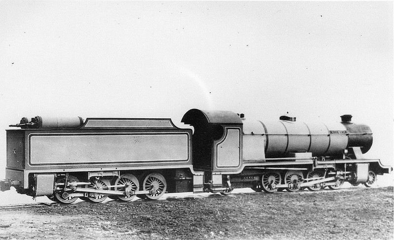 No.7 RIVER ESK - 2-8-2 built 1923 by Davey Paxman - 1928 Poultney steam tender added, making the loco into a 2-8-2+0-8-0 - soon removed and formed basis of second RIVER MITE - 1940 withdrawn - 1952 reinstated - 1970 given new tender - operational - seen here with the Poultney steam tender as built.