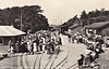 RAVENGLASS STATION - A busy day in the early 1960's with two trains loading in the station.