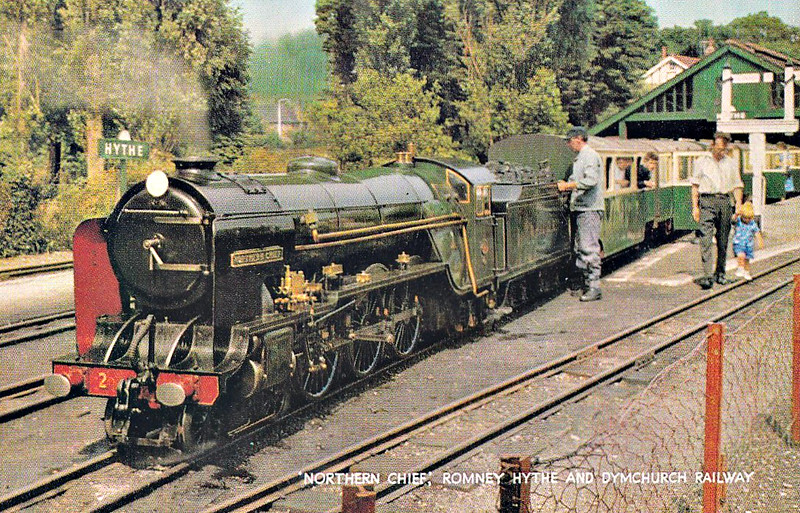 No.2 NORTHERN CHIEF - 4-6-2 built 1925 by Davey Paxman & Co. - based on LNER Class A1 - 1955 smoke deflectors fitted - 1981 high capacity tender fitted - seen here at Hythe Station in the 1970's.