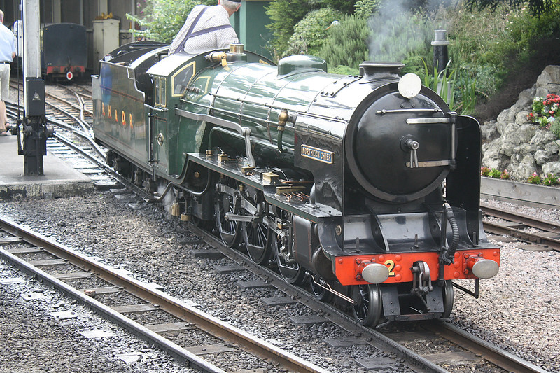 No.2 NORTHERN CHIEF - 4-6-2 built 1925 by Davey Paxman & Co. - based on LNER Class A1 - 1955 smoke deflectors fitted - 1981 high capacity tender fitted - takes on water at New Romney, 27/07/10.