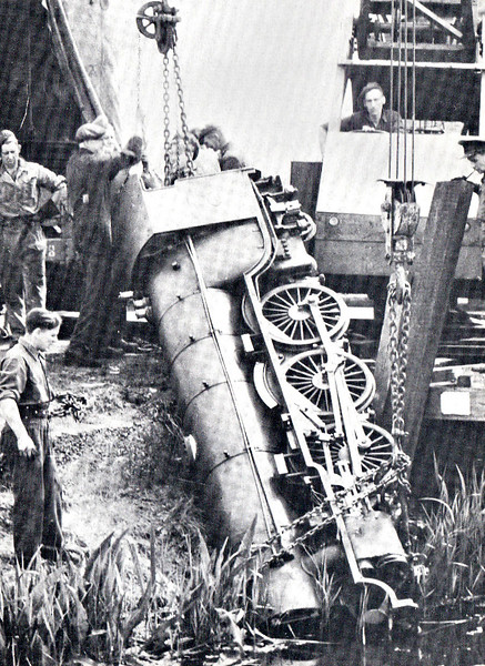 No.3 SOUTHERN MAID -  4-6-2 built 1927 by Davey Paxman & Co. - based on LNER Class A1 - 1947 large tender fitted - seen here being recovered by the Army from a dyke after being in collision with a lorry near Dymchurch in 1946.
