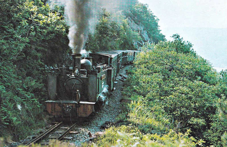 VALE OF RHEIDOL RAILWAY - No.9 PRINCE OF WALES - 2-6-2T - built 1924 by Swindon Works as No.1213, technically a rebuild of No.2 but actually a completely new engine - 1948 to BR No,9 - seen here in the 1970's.