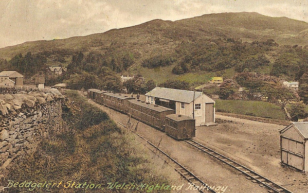 WELSH HIGHLAND RAILWAY - BEDDGELERT STATION - The rather basic station facilities at Beddgelert in 1926. The hut with the window on the centre is the station building/refreshment room.