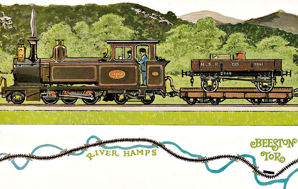 LEEK & MANIFOLD VALLEY LIGHT RAILWAY - Dalkeith Card No.74 (2/6) - No.2 JB EARLE at Thor's Cave and Wetton Station on a train that comprises almost the entire stock of the railway (as you will discover). There were 5 of these transporter wagons (4 short, 1 long) and this a short one carrying an NSR open wagon.