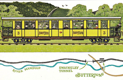 LEEK & MANIFOLD VALLEY LIGHT RAILWAY - Dalkeith Card No.77 (5/6) - One of the railway's two open thirds. looking very American with it's open balconied ends, at Thor's Cave and Wetton Station on a train that comprises almost the entire stock of the railway (as you will discover)