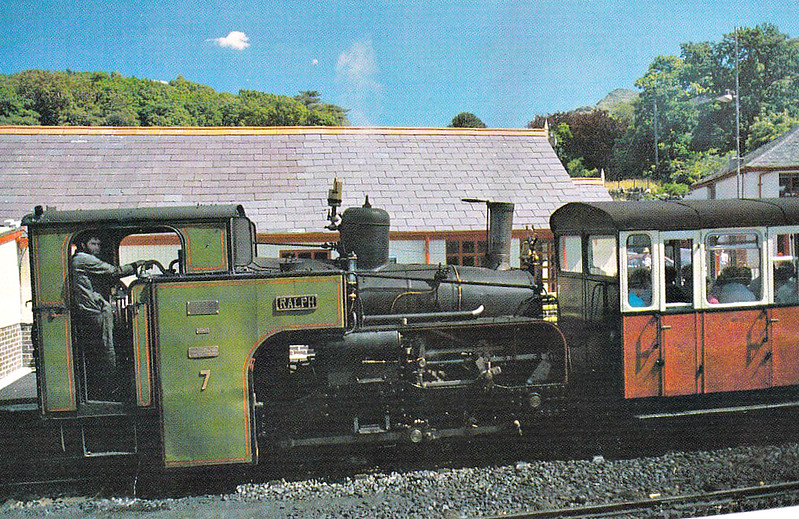SNOWDON MOUNTAIN RAILWAY -  No.7 RALPH - 0-4-2T - 800mm - built 1923 by Swiss Locomotive and Machine Works, Winterthur as No.7 AYLWIN - 10/78 renamed RALPH - withdrawn, dismantled and stored off site - unlikely to return to service - seen here at Base Station in the 1970's.