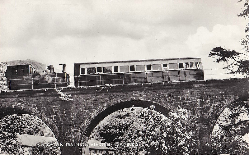 SNOWDON MOUNTAIN RAILWAY -  No.5 MOEL SIABOD - 0-4-2T - 800mm - built 1896 by Swiss Locomotive and Machine Works, Winterthur - still in service - seen here crossing Llanberis Viaduct in the 1950's.