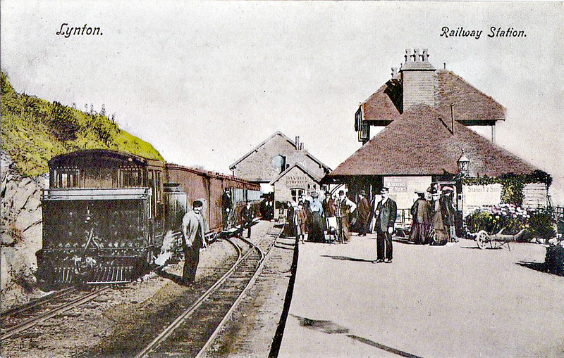 LYNTON & BARNSTAPLE RAILWAY - LYNTON STATION - seen here in about 1910. LYN is at the head of the train on the left. Facilities look fairly basic.