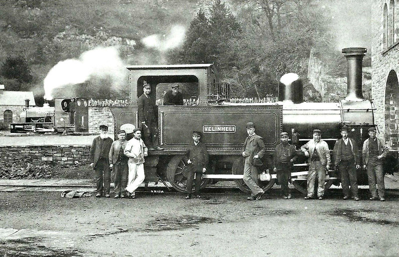 PADARN RAILWAY - VELINHELI - 0-6-0T - 1219mm gauge - built 1895 by Hunslet Engine Co., Works No.631 - 1953 dismantled for major overhaul, never reassembled, 1963 majority of parts scrapped - the loco in the background is VAENOL, later JERRY M - 0-4-0ST - 578mm gauge - built 1895 by Hunslet Engine Co., Works No.638 - preserved - seen here at Gilfach Ddu in 1895.