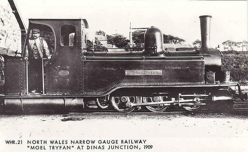 NORTH WALES NARROW GAUGE RAILWAY - MOEL TRYFAN - Single Fairlie 0-6-4T - 597mm - built 1875 by Vulcan Foundry for North Wales Narrow Gauge Railway - 1917 SNOWDON RANGER, sister loco, cannibalised to make one good loco of MOEL TRYFAN -  1923 sold to Welsh Highland Railway, 1937 to store at Boston Lodge, 1954 broken up - seen here at Dinas Junction, 1909.