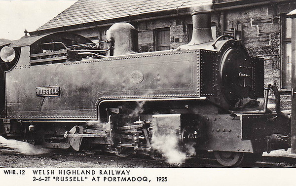 WELSH HIGHLAND RAILWAY - RUSSELL - 2-6-2T built 1906 by Hunslet Engine Co. for the Portmadoc, Beddgelert & South Snowdon Railway - 1922 acquired by Welsh Highland Railway - 1937 withdrawn when line closed - 1942 requisitioned by WD to opencast ironstone site near Hook Norton, Oxfordshire - 1945 to Norden Clay Mines, Corfe - prone to derailment on poor track - after severe axle damage in 1953, laid up - bought for £70 and sent to Talyllyn Railway - currently undergoing restoration - seen here at Portmadog in 1925.