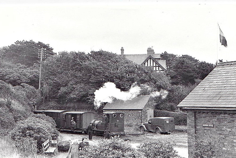 TALYLLYN RAILWAY - No.2 DOLGOCH - 686mm - 0-4-0T built 1866 by Fletcher Jennings & Co. - last loco in service before closure - seen here at Towyn Wharf propelling out of the station in the 1960's.