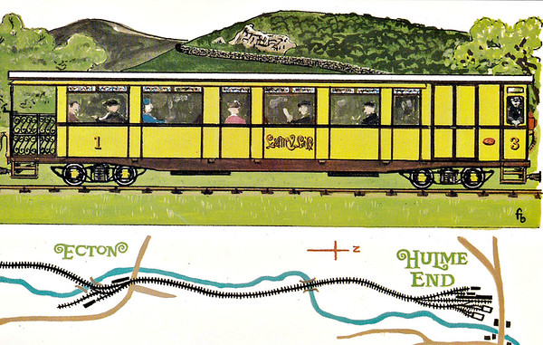 LEEK & MANIFOLD VALLEY LIGHT RAILWAY - Dalkeith Card No.78 (6/6) - The other brake composite brings up the rear of the train at Thor's Cave and Wetton Station on a train that comprises almost the entire stock of the railway (as you will discover)