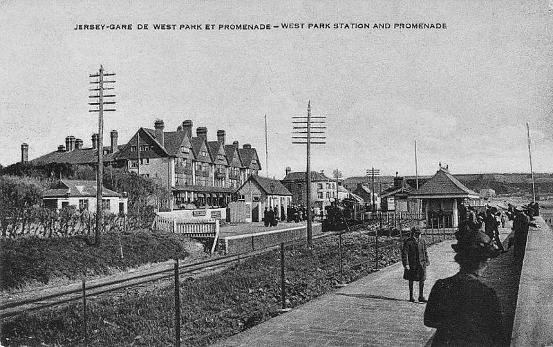JERSEY RAILWAY - WEST PARK STATION, St Helier - this was the first stop out of the St Helier on the Jersey Railway with just one short platform on the landward side, seen here in about 1910. The station was opened as Cheapside in 1872, renamed Westmount and then West Park in 1896, when the gauge changed from standard to 3 feet 6 inches. One of the railway's 2-4-0T's can be seen arriving with a train from St Helier.