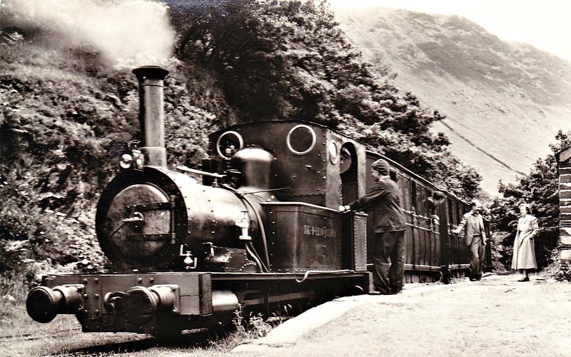TALYLLYN RAILWAY - No.2 DOLGOCH - 686mm - 0-4-0T built 1866 by Fletcher Jennings & Co. - last loco in service before closure - seen here at Abergynolwyn in the 1950's.