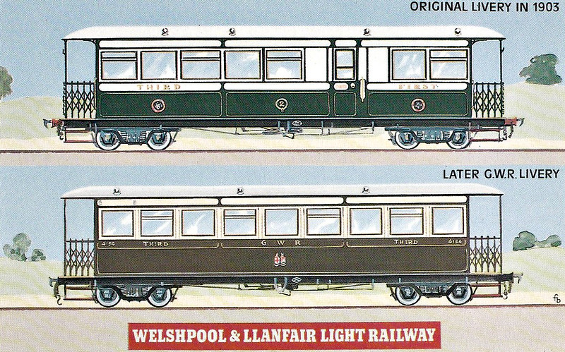WELSHPOOL & LLANFAIR LIGHT RAILWAY No.2 - The two types of coaches used by the original Company. At first, Cambrian Railways, who operated the line, used their own colour scheme, but on Grouping in 1923, the GWR promptly repainted the rolling stock in their own livery.
