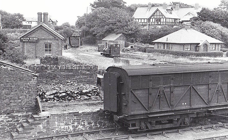 TALYLLYN RAILWAY - No.2 DOLGOCH - 686mm - 0-4-0T built 1866 by Fletcher Jennings & Co. - last loco in service before closure - seen here from the opposite side of the mainline at Towyn in the 1960's.