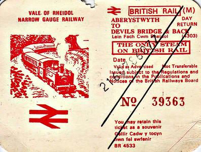 VALE OF RHEIDOL RAILWAY - Second Class Day Return from Aberystwyth to Devils Bridge, undated but clipped.