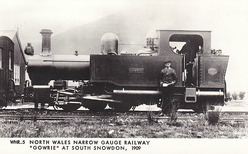 NORTH WALES NARROW GAUGE RAILWAY - GOWRIE - 0-6-4T Single Fairlie - 597mm - built 1908 by Hunlset Engine Co., Works No.979 - 1915 sold to contractor - 1928 scrapped - seen here at South Snowdon in 1909.