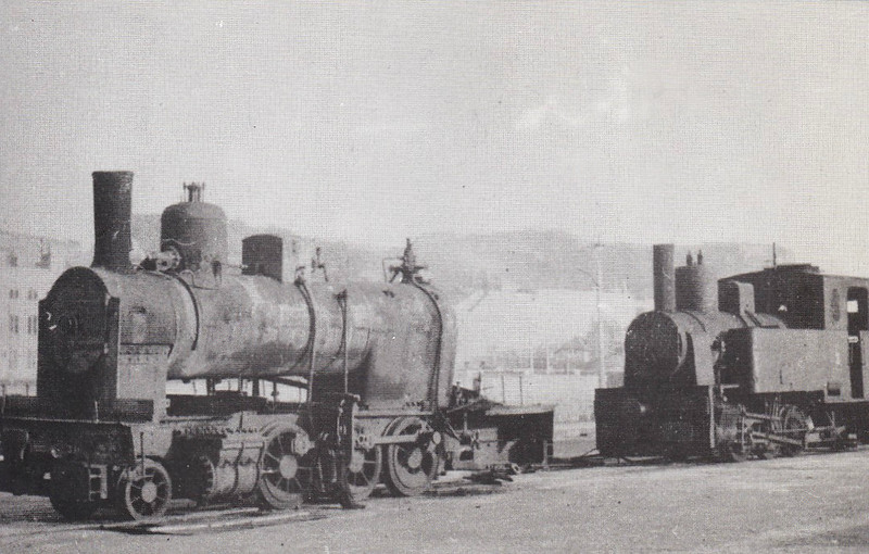 JERSEY RAILWAY - Abandoned German locos undergoing demolition on the North Pier at St Helier in 1945 - the nearer appears to have once been a 2-6-2T whilst the other, perhaps No.3, is either an 0-6-0T or 0-6-2T - very poor quality picture I'm afraid.