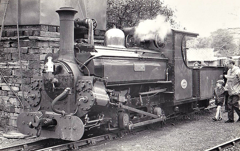 FFESTINIOG  RAILWAY - LINDA - 597mm - 2-4-0ST with tender - built 1893 by Hunslet Engine Co. as 0-4-0ST for Penrhyn Quarry Railway - 1962 bought by Ffestiniog Railway - operational - seen here at Tan-y-Bwlch in 1967.