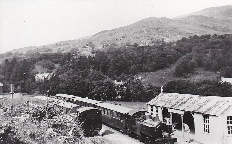 WELSH HIGHLAND RAILWAY - RUSSELL - 2-6-2T built 1906 by Hunslet Engine Co. for the Portmadoc, Beddgelert & South Snowdon Railway - 1922 acquired by Welsh Highland Railway - 1937 withdrawn when line closed - 1942 requisitioned by WD to opencast ironstone site near Hook Norton, Oxfordshire - 1945 to Norden Clay Mines, Corfe - prone to derailment on poor track - after severe axle damage in 1953, laid up - bought for £70 and sent to Talyllyn Railway - currently undergoing restoration - seen here at Beddgelert.