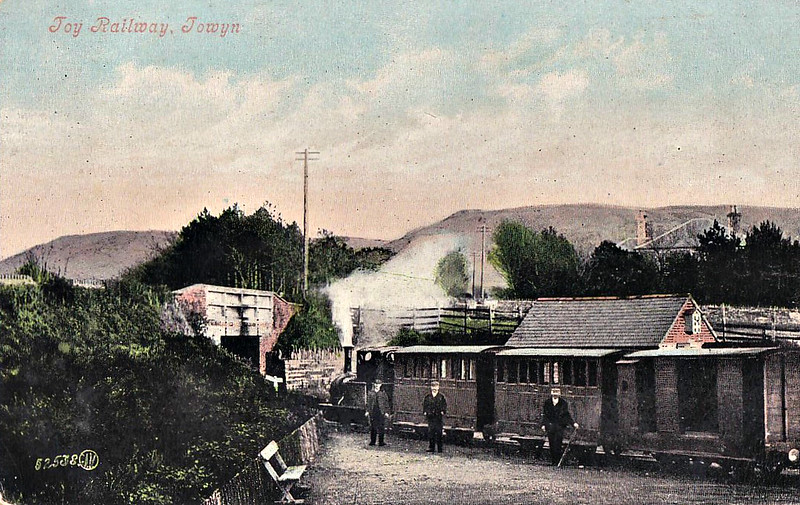 TALYLLYN RAILWAY - TOWYN STATION - seen here in about 1905 with No.2 DOLGOCH at the head of a 'toy' train.