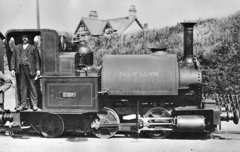 TALYLLYN RAILWAY - No.1 TALYLLYN - 686mm - built 8164 by Fletcher Jennings & Co. as 0-4-0ST - converted shortly after completion to 0-4-2ST - 1945 withdrawn - seen here in about 1915.