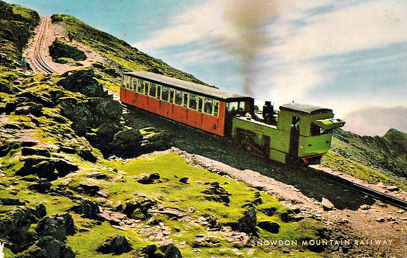 SNOWDON MOUNTAIN RAILWAY - No.4 SNOWDON - 0-4-2T built in 1895 by Swiss Locomotive and Machine Works, Winterthur - still in operation - posted October 1st, 1973.